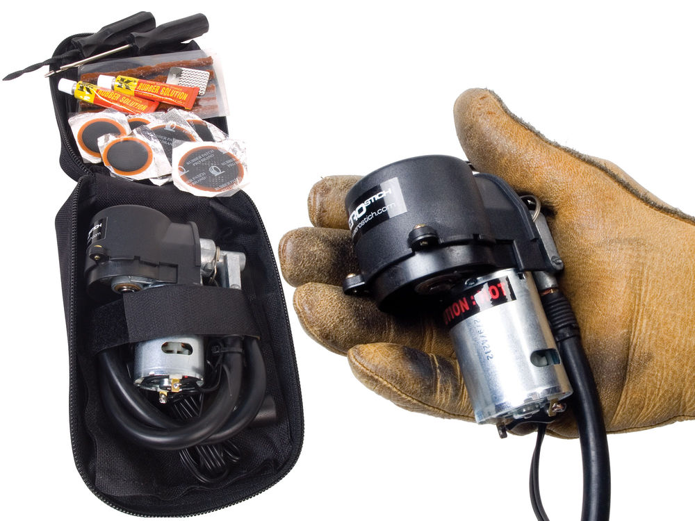 "The ultimate compact tire repairification kit. Combines our smallest, most efficient compressor with all the essential tools, patches and goo needed to fix nearly any roadside flat. The whole kit zips up neatly into a handy nylon storage pouch and fits easily in a tank bag or pannier. Mini Compressor has a nice, long 26"" inflator hose and comes with three power adapters: SAE, cigarette lighter and alligator clips. The underside of the pouch also features four slim pockets allowing storage for a tire gauge, pen, flashlight or other small, handy items that can be added to enhance this kits versatility. Adding tire irons for removing the tire from the rim (Aerostich Tar Arns #3564, available separately), truly makes this a ride-anywhere tire repair kit. This is the smallest and most packable tire kit available. Black. 7""x3""x5.25"". 1.6 lbs. #4750 $67.00"