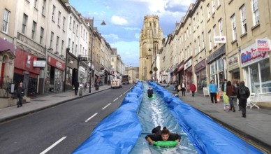 Mock up of the huge water slide which may be installed in Bristol.  See SWNS story SWSLIDE: A giant water slide - called Park and Slide - is set to be installed on Park Street for one Sunday in May. The 90 metre slide has been designed by artist Luke Jerram who has tested the idea at Ashton Court. But he needs £5,621 in donations to make the project a reality. Luke, who was responsible for placing pianos around the city for an interactive art project in 2009, plans to install his slide on May 4.