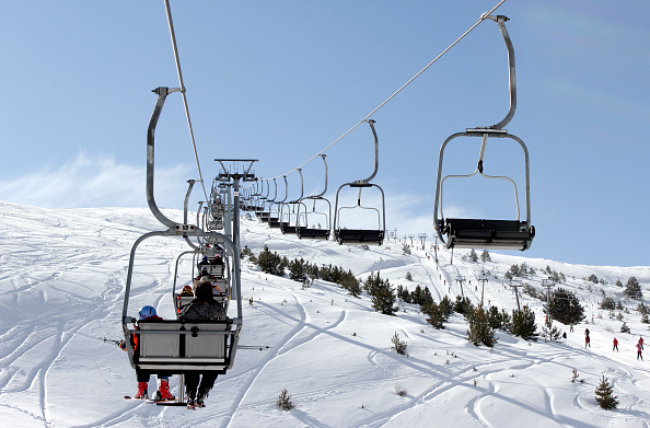 SELI, GREECE - FEBRUARY 05 : The ski resort of Seli on February 05, 2012 in 3 5 Pigadia, Greece.The ski resort of Seli is the first organized ski center in Greece. Located at an altitude of 1534 - 1900 m., Mount Vermio of Imathia village Seli, one of the highest villages in Greece. It started its operation in 1934 as an organized center, year organizing the first Panhellenic ski racing. Feature attraction of the center is the chalet with the acute angled roof. (Photo by Athanasios Gioumpasis/Getty Images)