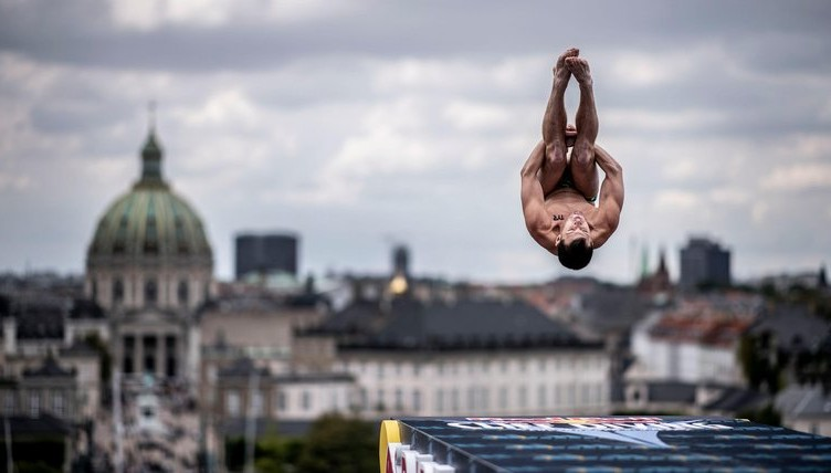 Steven LoBue of the USA dives from the 27 metre platform on the roof of the Opera House during the final competition day of the fifth stop at the Red Bull Cliff Diving World Series in Copenhagen, Denmark on August 25, 2018.